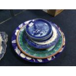 FOUR ROYAL COPENHAGEN CABINET PLATES, ALONG WITH OTHER CABINET PLATES AND CHARGERS