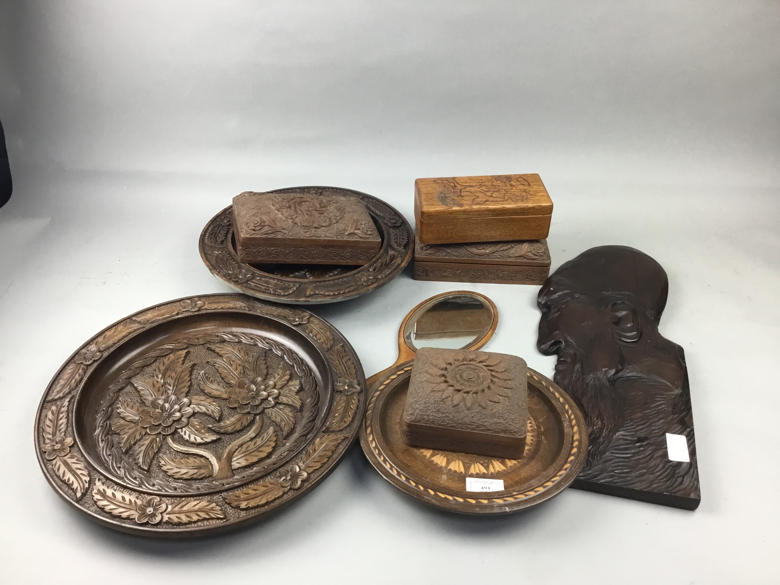 A LOT OF THREE TEAK BOXES AND OTHER WOODEN ITEMS - Image 2 of 2