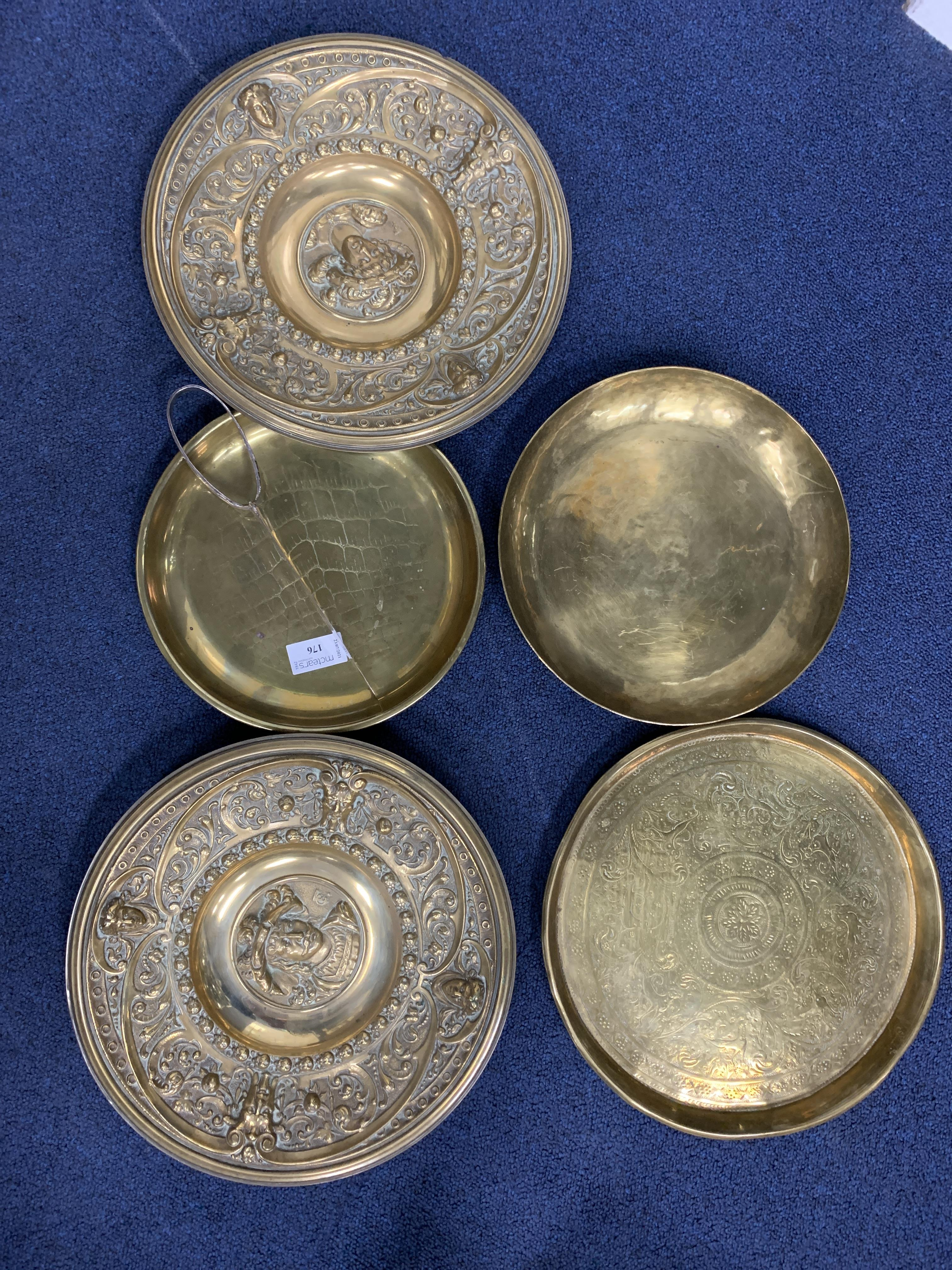 A PAIR OF VICTORIAN CAST BRASS WALL PLATES AND OTHERS