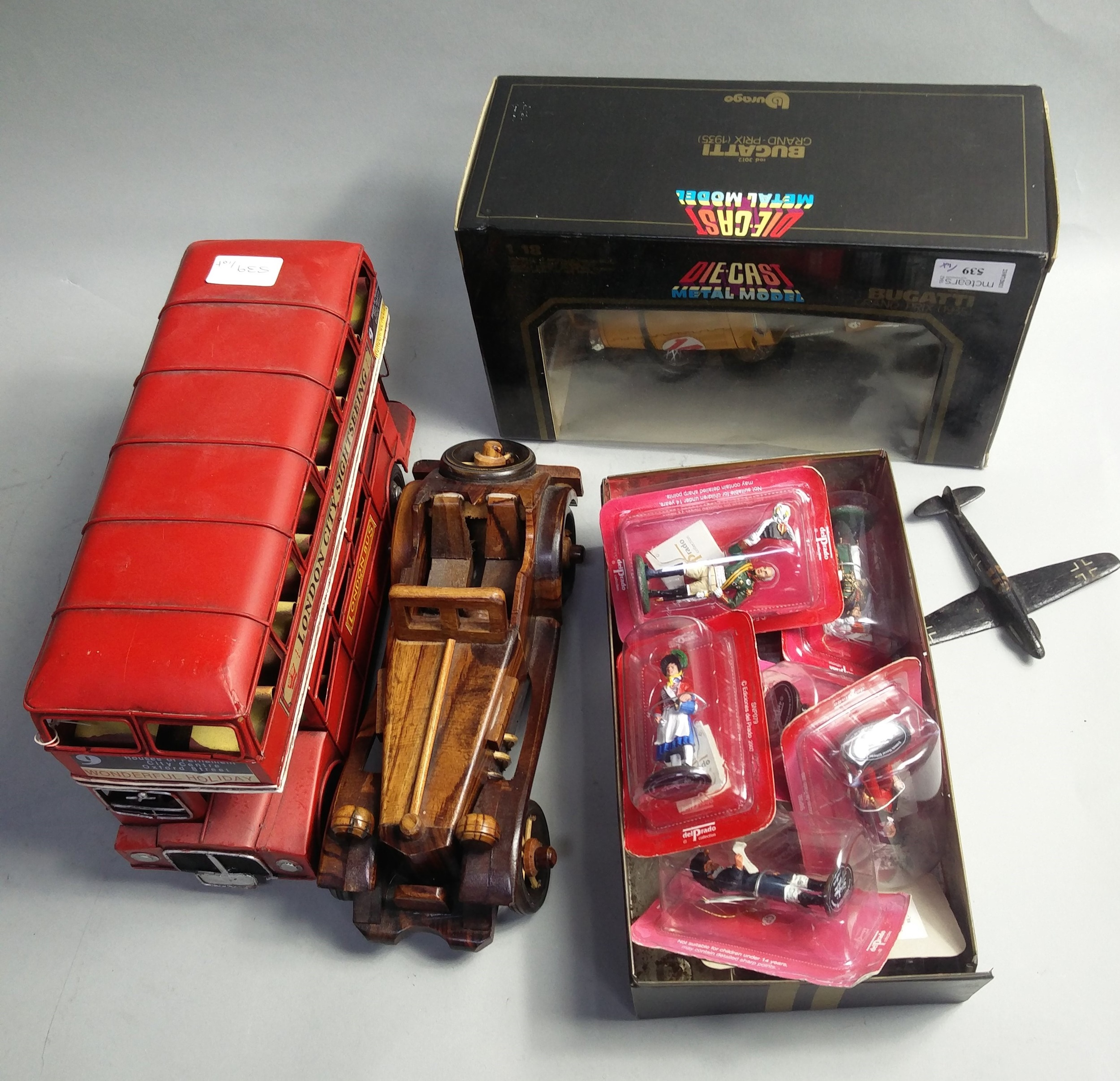 A DIE CAST MODEL OF A BUGATTI AND OTHER TOYS - Image 2 of 2