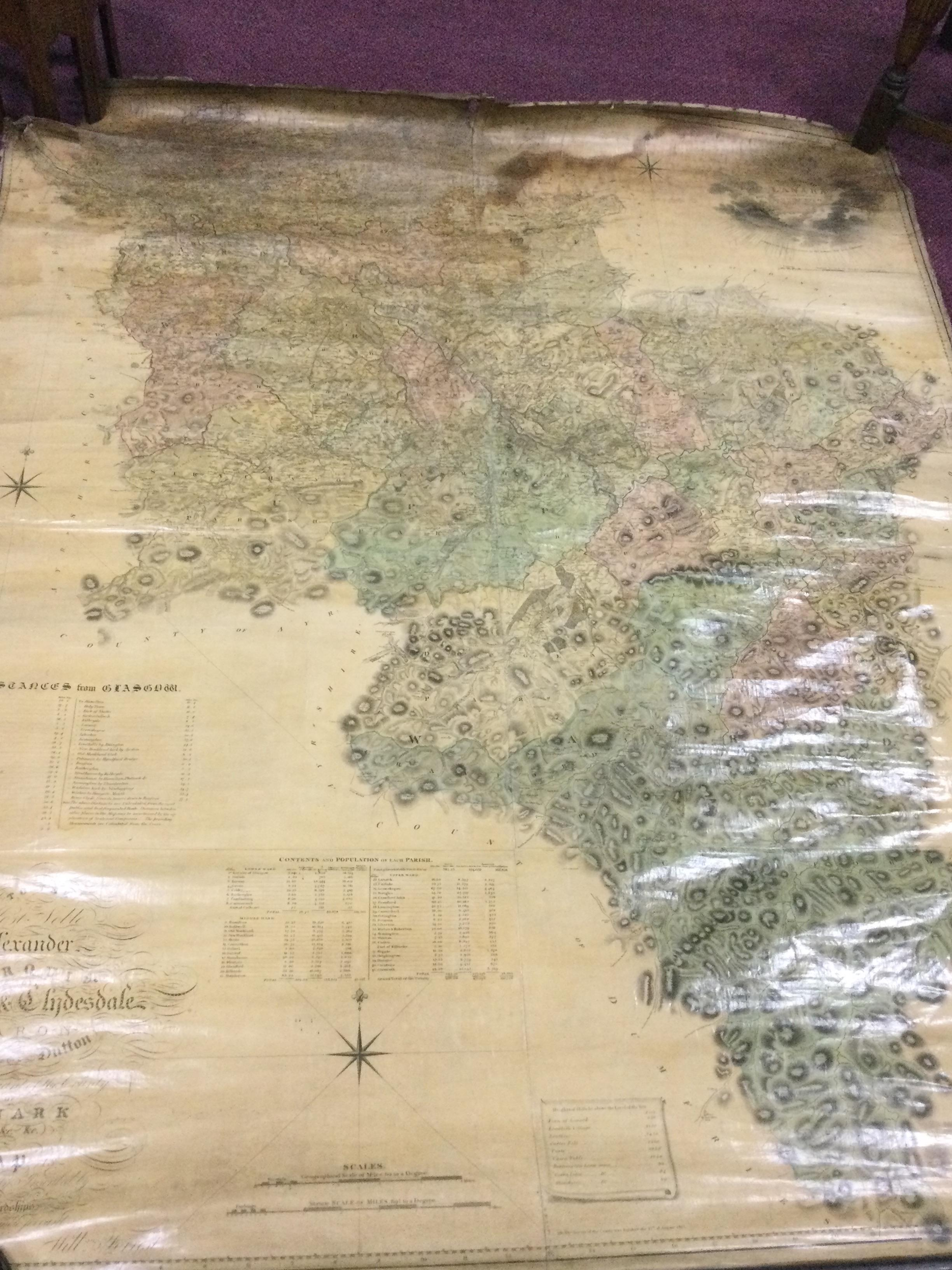 A LARGE 19TH CENTURY COUNTY OF LANARK MAP