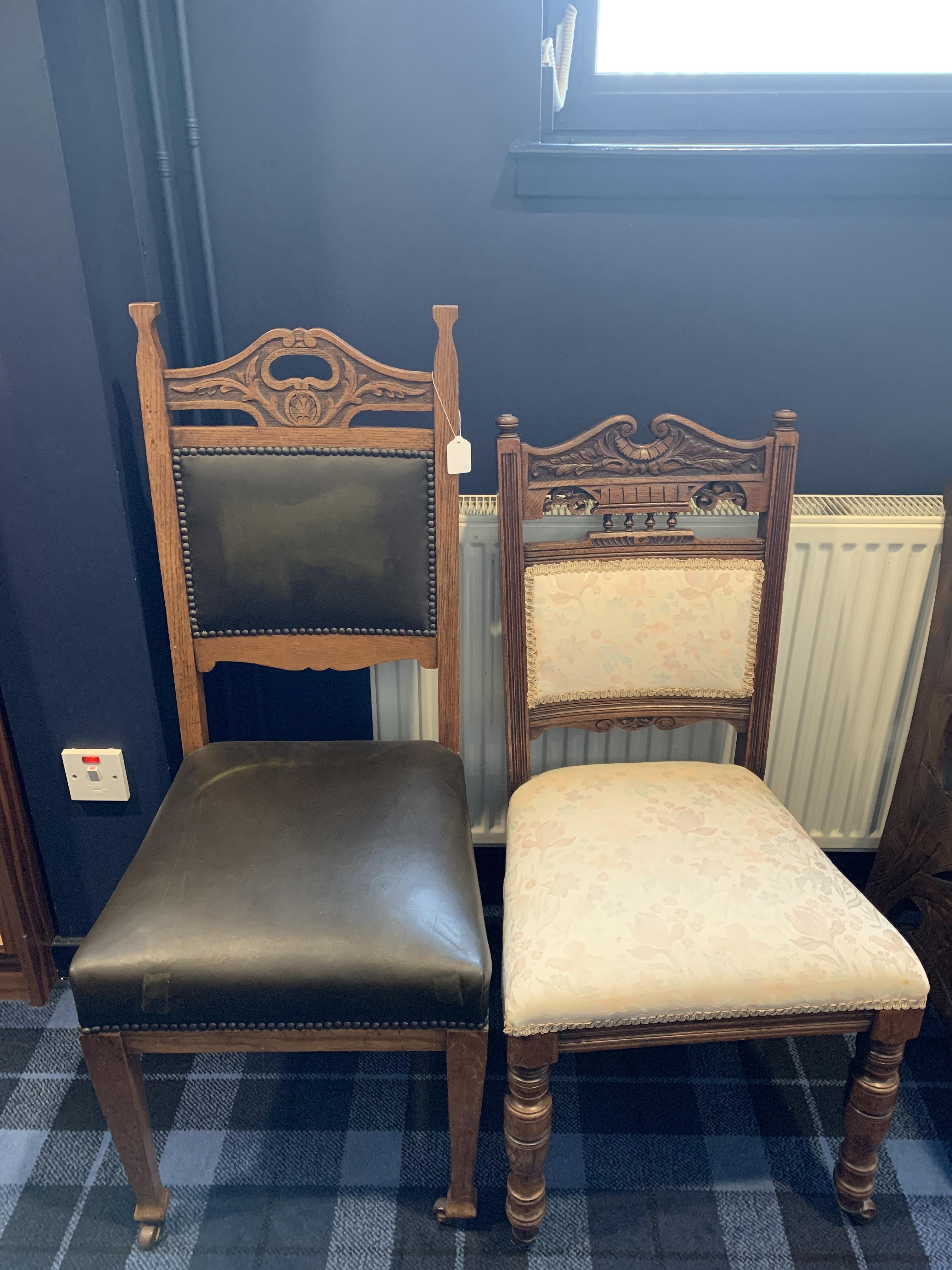 A LOT OF TWO VICTORIAN CHAIRS