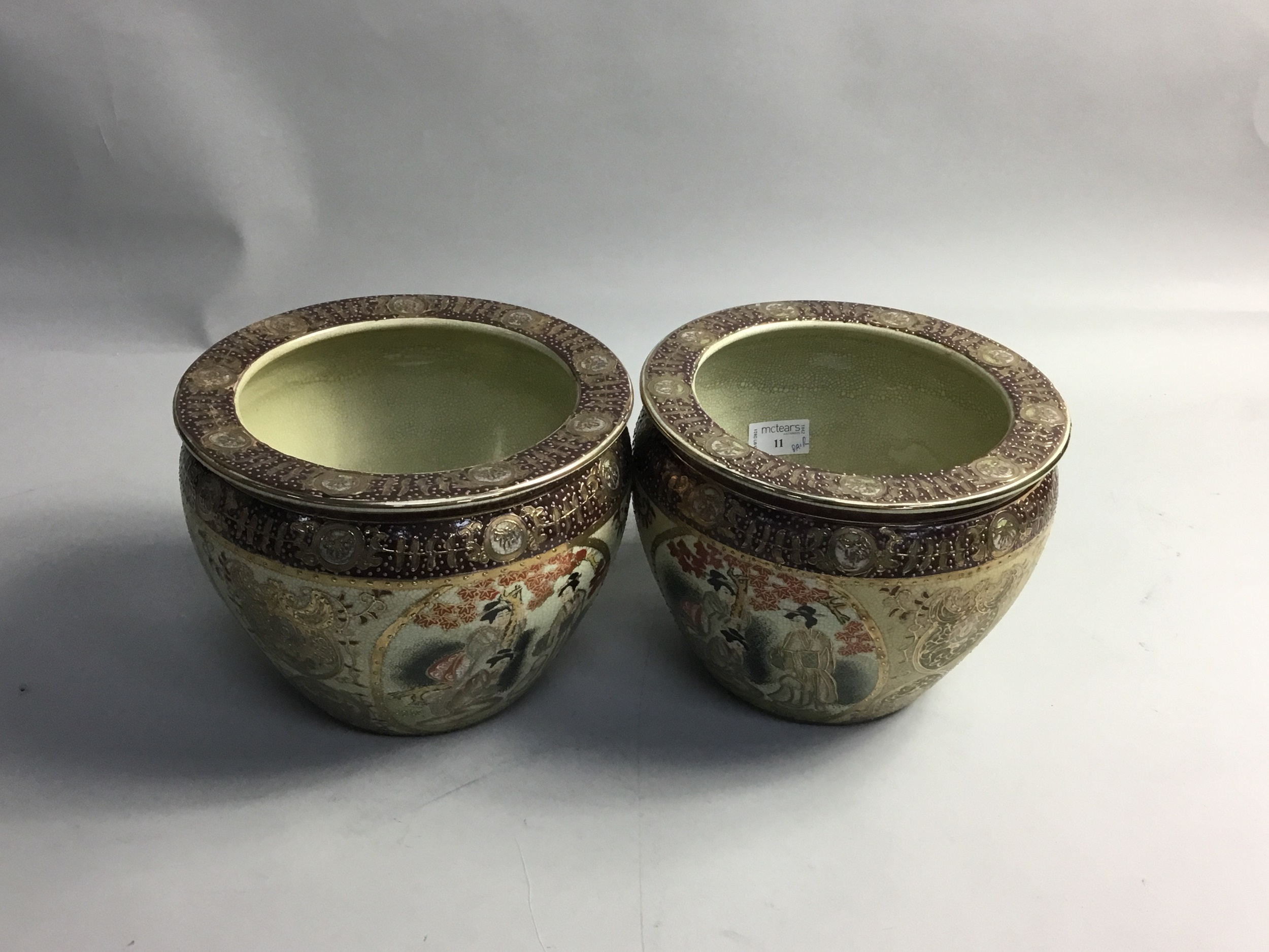 A PAIR OF 20TH CENTURY JAPANESE STONEWARE PLANTERS