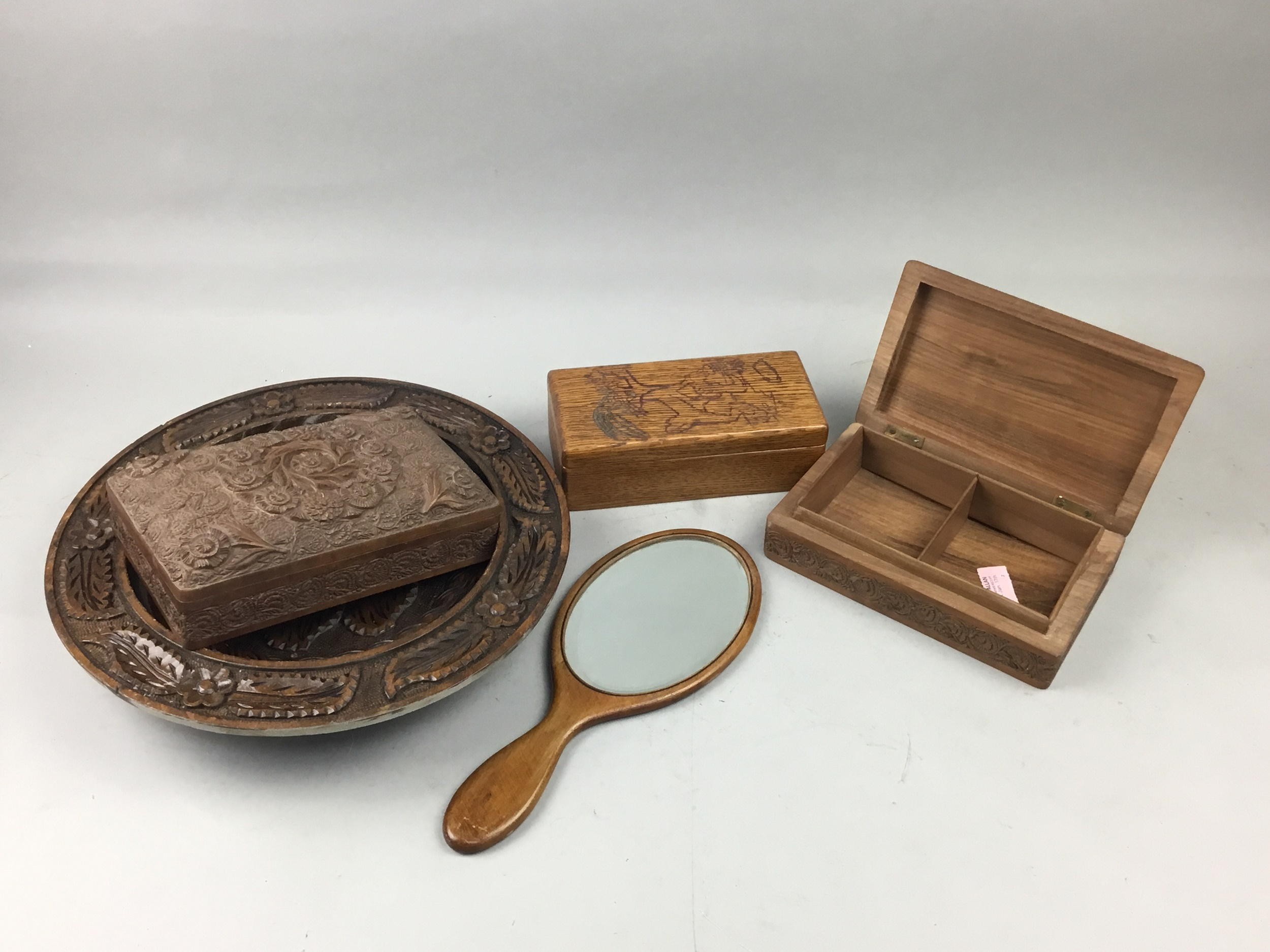 A LOT OF THREE TEAK BOXES AND OTHER WOODEN ITEMS