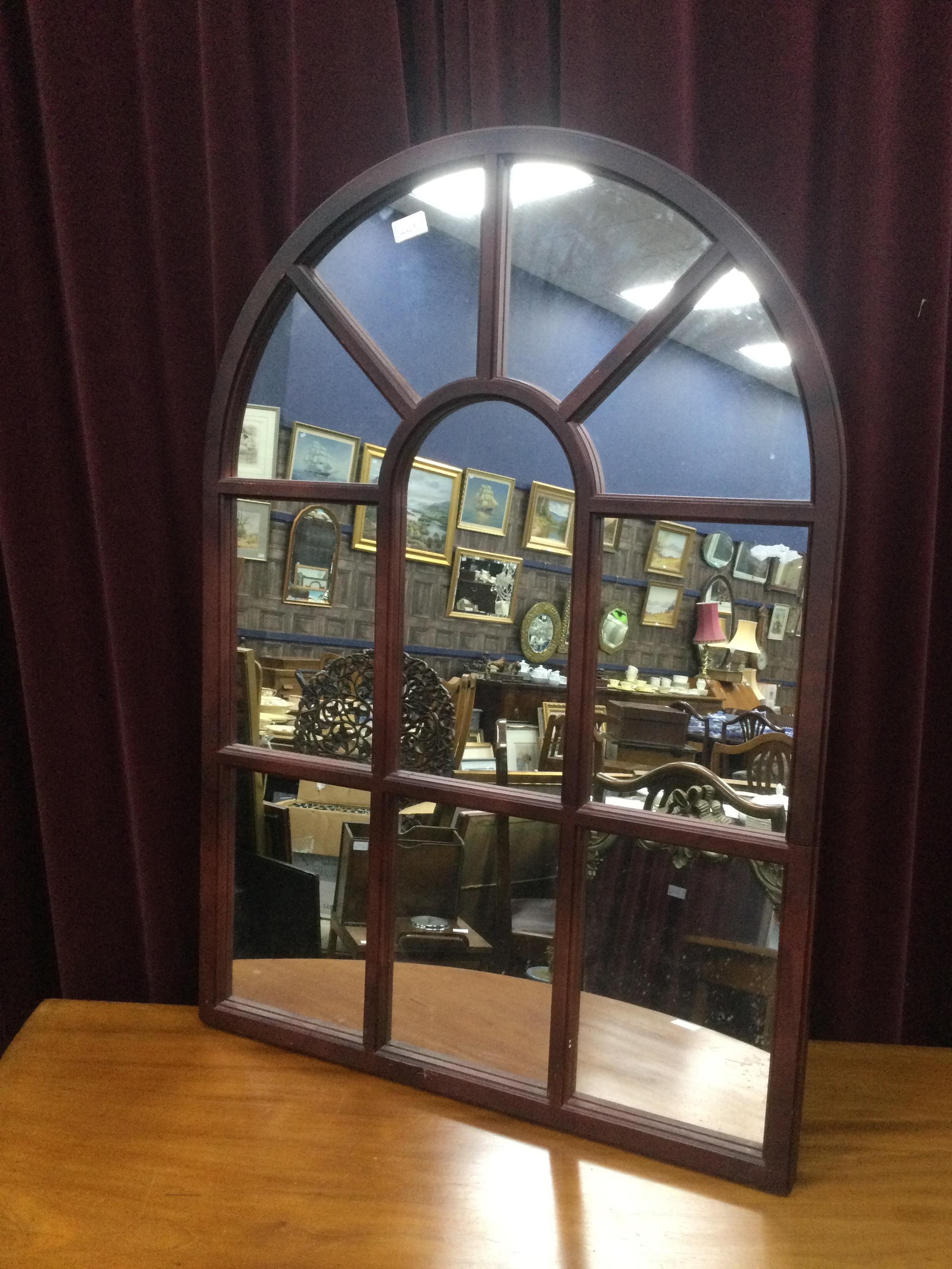 A VINTAGE ARCHED WALL MIRROR AND A BAISE LINED BOX