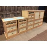 A PAIR OF MODERN BEDSIDE CHESTS AND A MATCHING BEDROOM UNIT