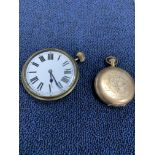 A VICTORIAN POCKET WATCH BY WALTHAM IN A GOLD PLATED CASE AND A TRAVELLING TIMEPIECE