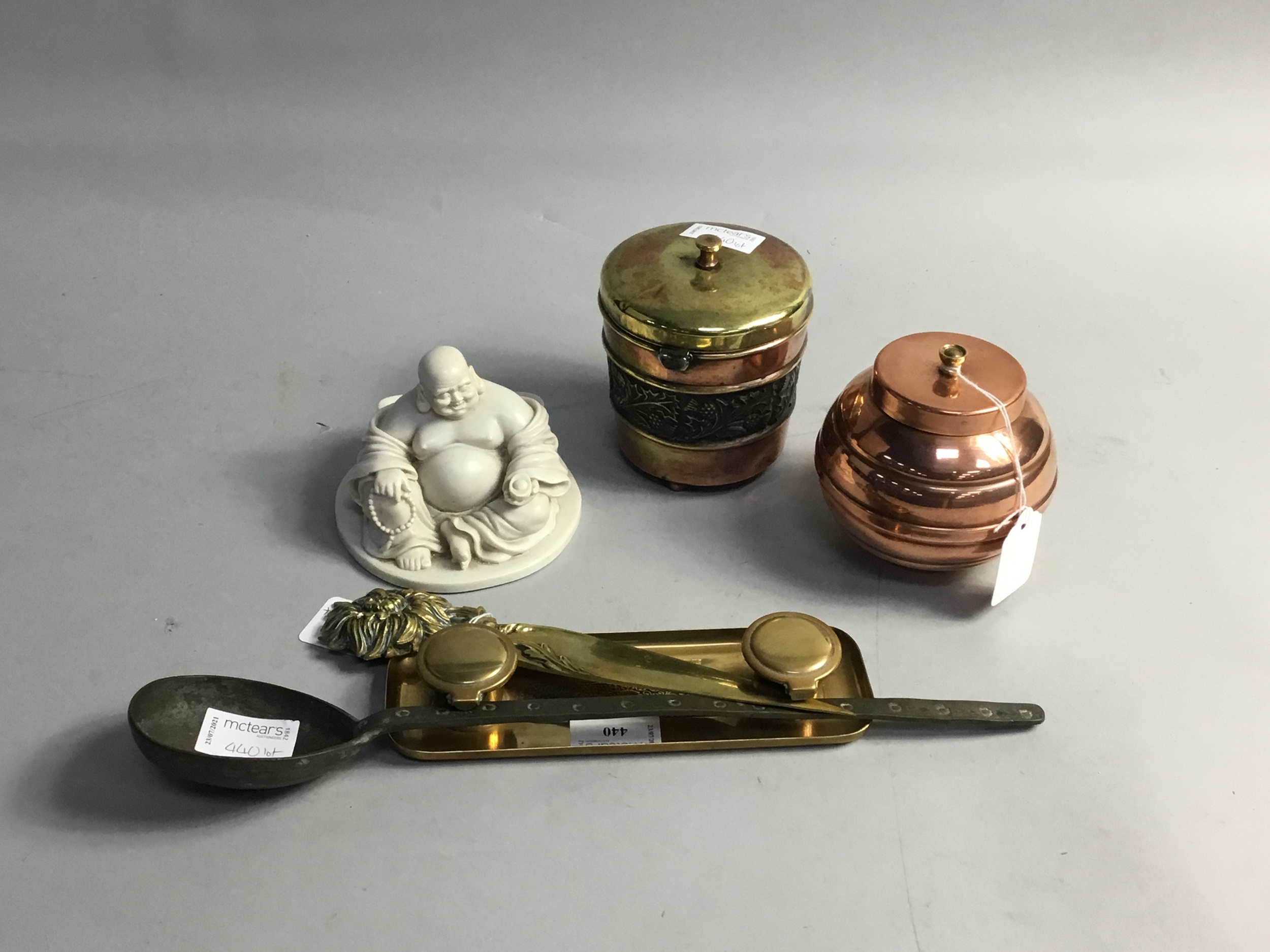 A LATE 19TH CENTURY BRASS DOUBLE INKWELL, ALONG WITH OTHER METAL WARE