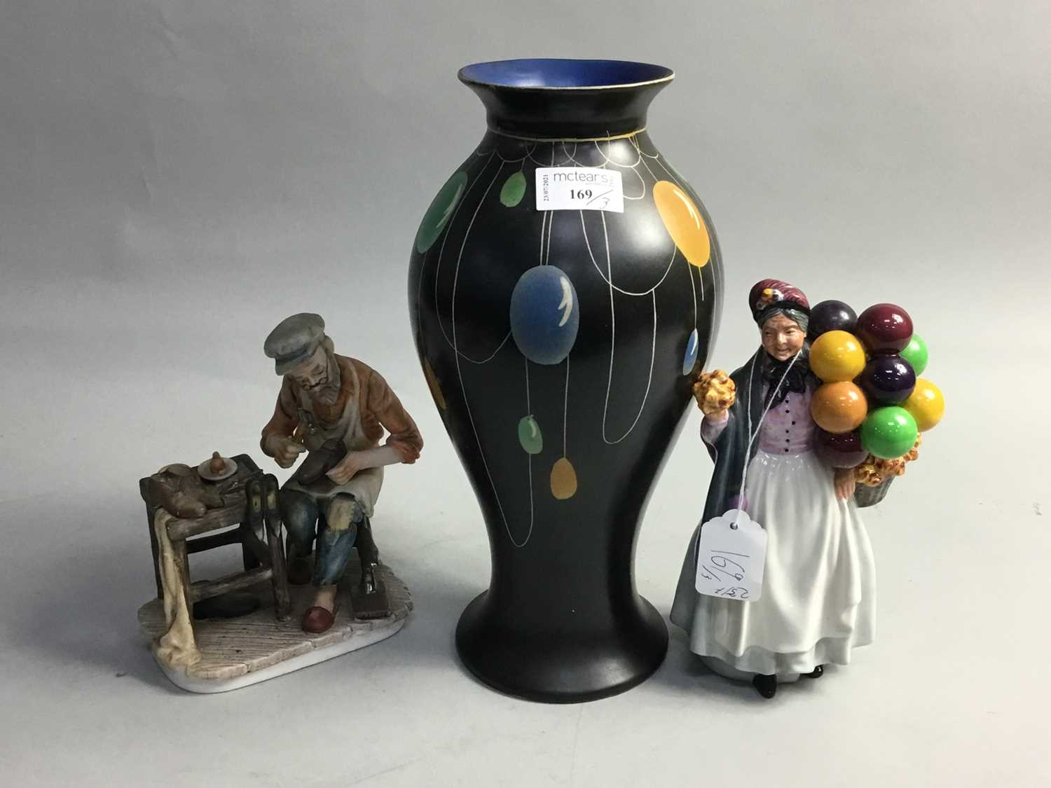 A ROYAL DOULTON FIGURE ANOTHER FIGURE AND A VASE