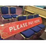 A LARGE 'PLEASE PAY HERE' SIGN FROM HAMLEY'S LONDON