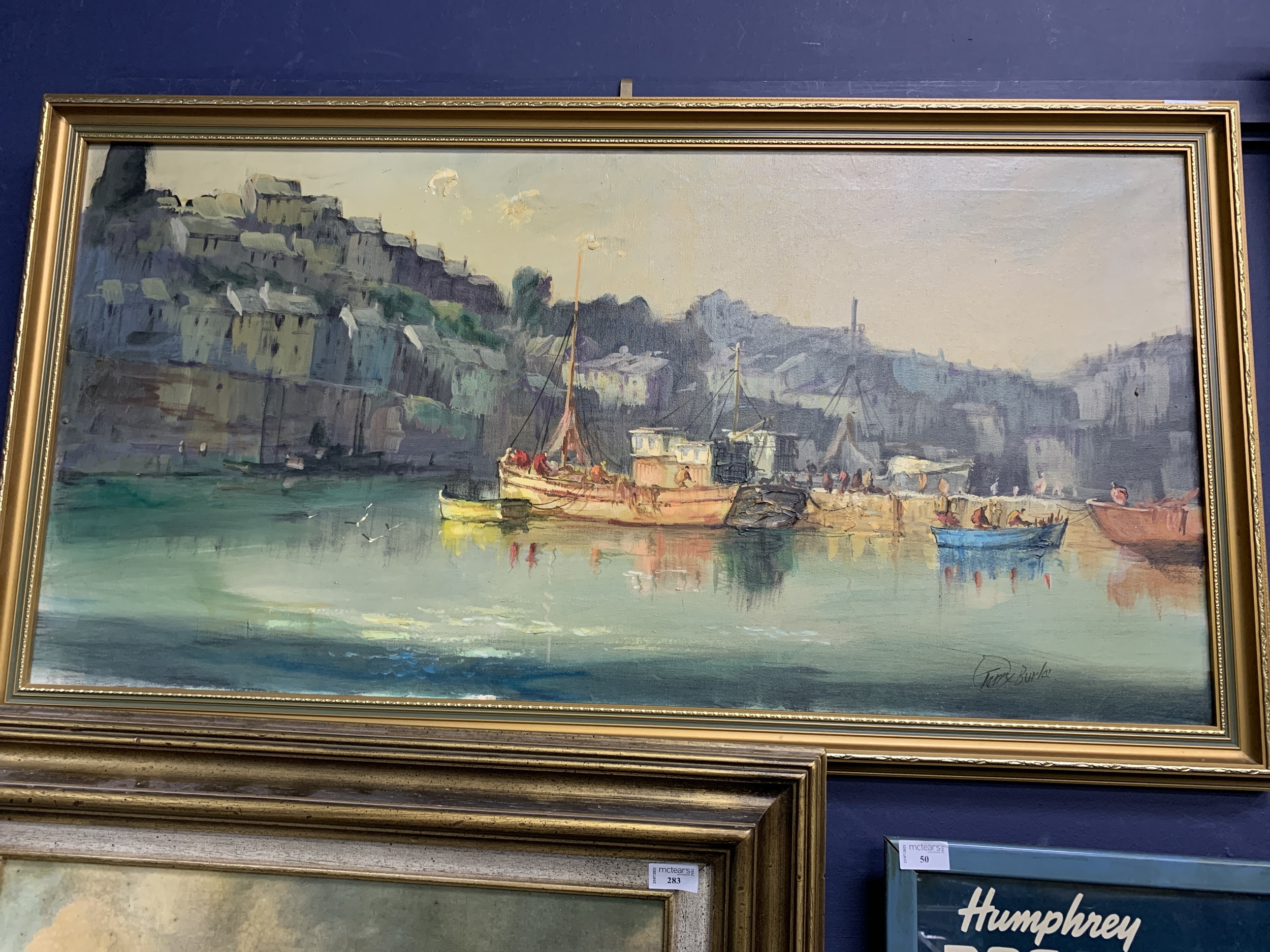GARRY BURLA, BOATING SCENE, FRAMED ACRYLIC PAINTING, ALONG WITH OTHER PICTURES - Image 3 of 4