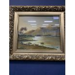 GARRY BURLA, BOATING SCENE, FRAMED ACRYLIC PAINTING, ALONG WITH OTHER PICTURES