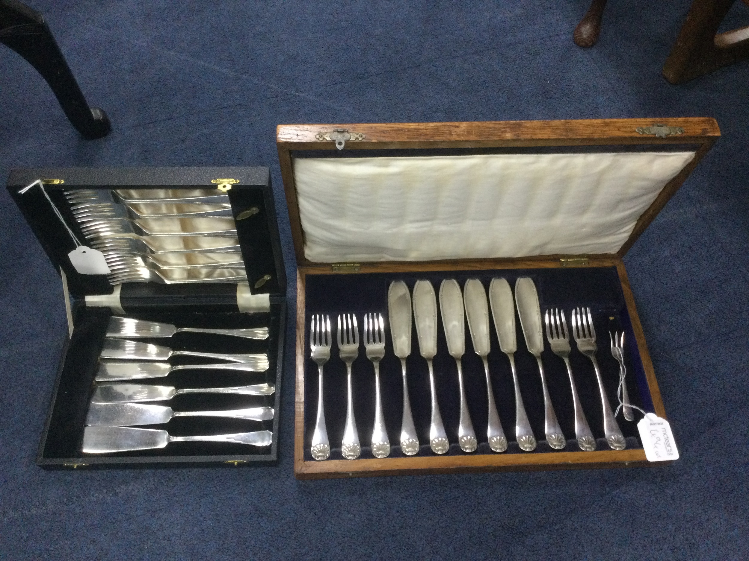 A SET OF SIX PLATED FISH KNIVES AND FORKS AND OTHER FL`ATWARE