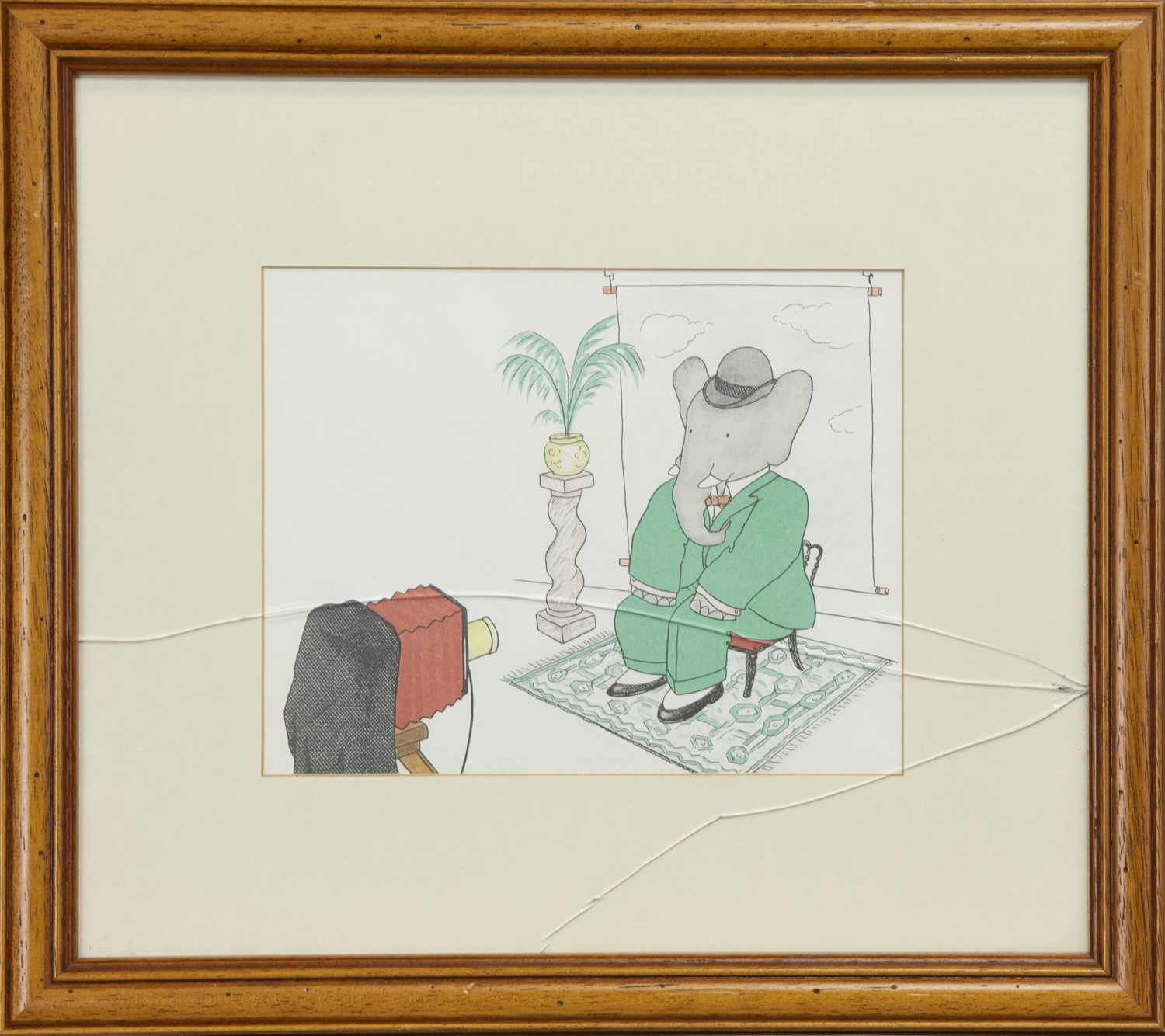 BABAR THE ELEPHANT, A PRINT AFTER JEAN DE BRUNHOFF AND A CONTEMPORARY PASTEL - Image 3 of 3