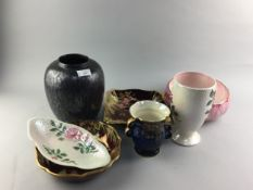 A COLLECTION OF CERAMICS INCLUDING MALING AND CARLTONWARE EXAMPLES