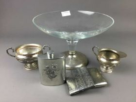 A GLASS DECANTER WITH SILVER COLLAR AND A GLASS TAZZA WITH SILVER FOOT AND OTHER OBJECTS