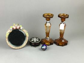 A PAIR OF AMBER GLASS CANDLESTICKS, BARBOLA DRESSING MIRROR AND OTHER ITEMS