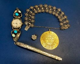 A SILVER FILIGREE BRACELET, SILVER AND STONE SET WRIST WATCH, A MEDALLION AND A STONE SET CLUSTER PE