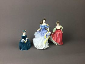 A LOT OF ROYAL DOULTON FIGURES AND A WEDGWOOD JASPER WARE