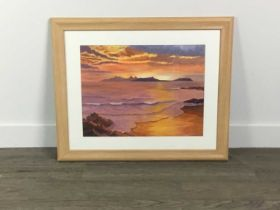 AN ACRYLIC OF 'SUNSET OVER RUM AND EIGG', ALONG WITH TWO OTHERS