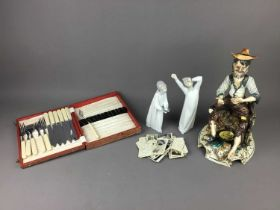 A LOT OF TWO LLADRO FIGURES OF CHILDREN IN NIGHT DRESS ALONG WITH OTHER ITEMS