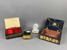 A BACKGAMMON BOARD ALONG WITH MUSICAL AND OTHER BOXES
