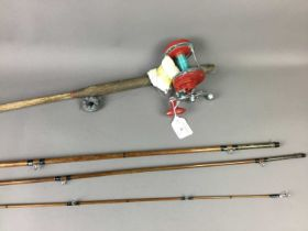 A LOT OF TWO FISHING RODS AND A REEL