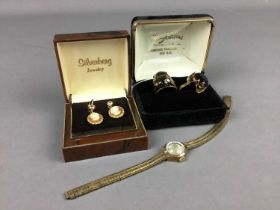 A LOT OF TWO NINE CARAT GOLD RINGS, LADY'S BENTIMA WRIST WATCH AND PAIR OF CAMEO EARRINGS