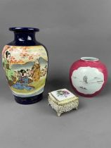 A CHINESE GINGER JAR, JAPANESE SATSUMA VASE AND A TRINKET BOX
