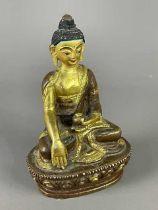A 20TH CENTURY MINIATURE BRONZE BUDDHA