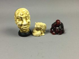 A CHINESE NOVELTY RESIN HEAD STUDY ALONG WITH TWO RESIN NETSUKE