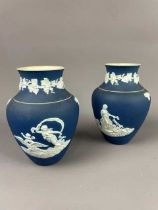 A PAIR OF ADAMS JASPER WARE BLUE AND WHITE VASES