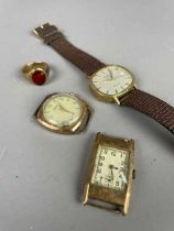 A NINE CARAT GOLD SIGNET RING AND THREE WATCHES
