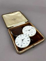 A LOT OF TWO POCKET WATCH MOVEMENTS AND A ROLEX PRIMA MOVEMENT