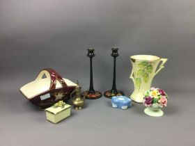AN ART DECO ARTHUR WOOD VASE AND OTHER CERAMICS AND WOOD ITEMS