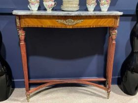 A FRENCH MARBLE TOPPED KINGWOOD CONSOLE TABLE