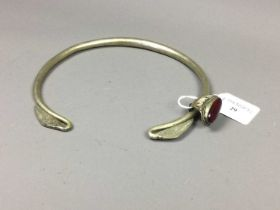 A CHINESE TORQUE NECKLACE AND A CHINESE RING