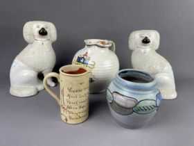 A PAIR OF STAFFORDSHIRE DOGS, A SUSIE COOPER VASE AND TWO JUGS