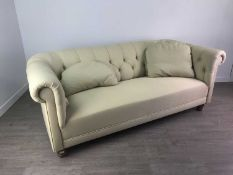 A BUTTON BACK THREE SEAT SETTEE