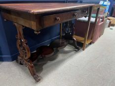 A VICTORIAN MAHOGANY SIDE TABLE ALONG WITH ANOTHER SIDE TABLE