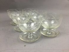 A LOT OF SIX SUNDAE GLASSES AND OTHERS