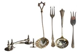 A SET OF THREE GEORGE III SILVER SAUCE LADLES, ALONG WITH ASSORTED SILVER AND PLATED FLATWARE