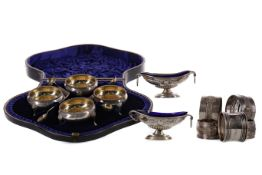 A CASED SET OF FOUR SILVER OPEN SALT CELLARS AND OTHER SILVER WARE