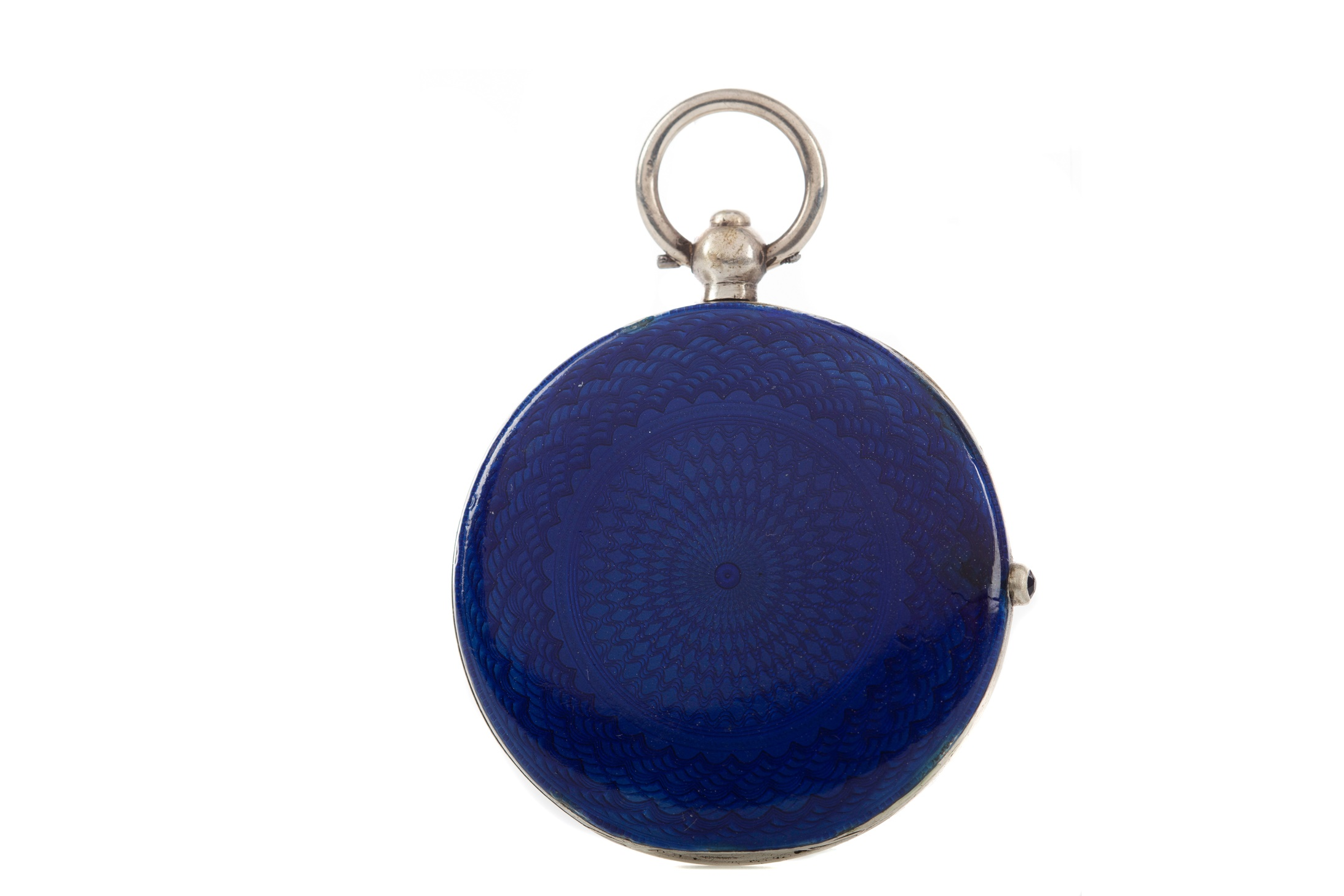 AN EDWARDIAN SILVER AND GUILLOCHE ENAMEL COMPACT