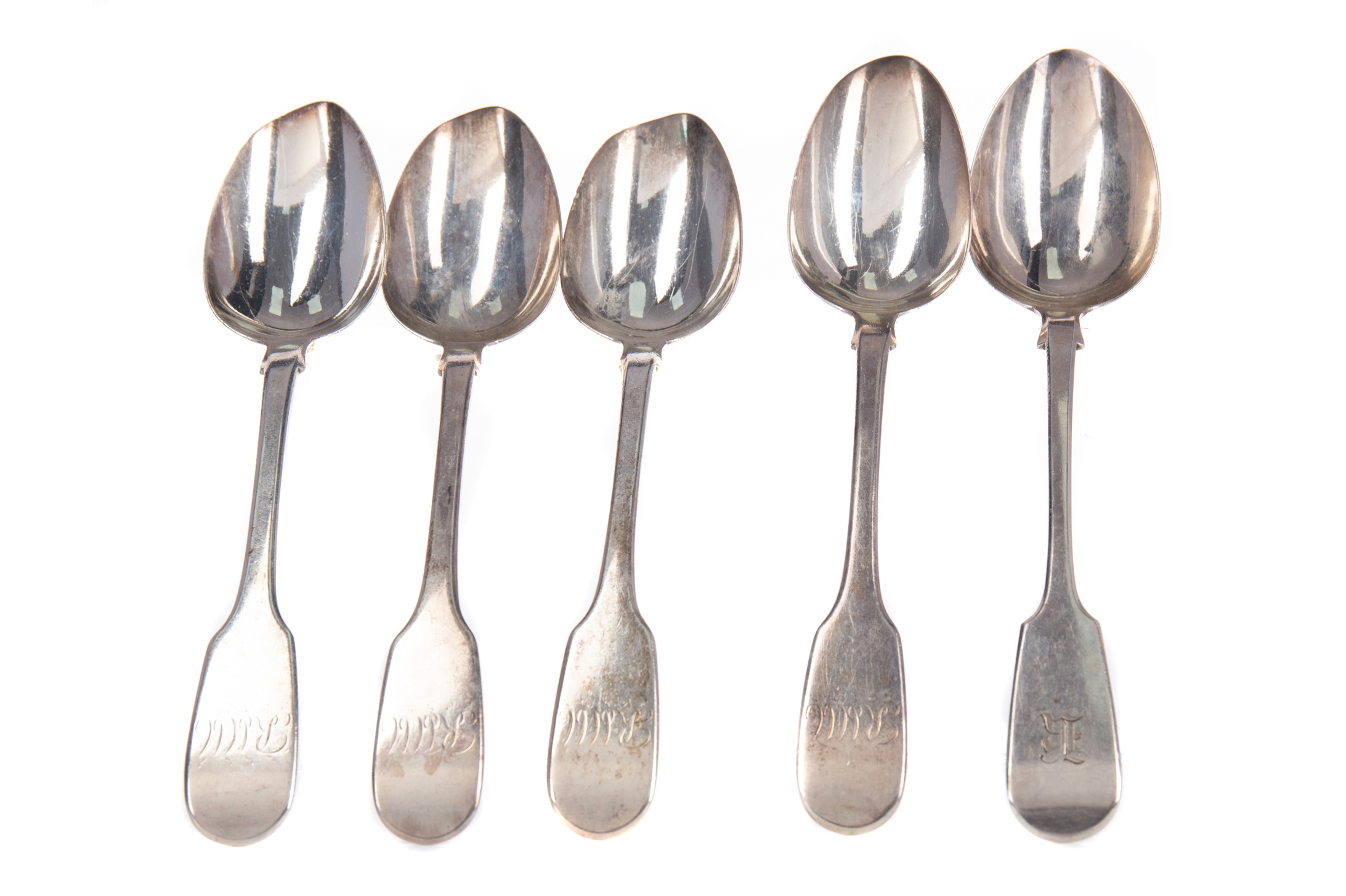 TWO SETS OF FOUR SILVER FIDDLE PATTERN TABLE SPOONS