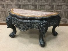 AN UNUSUAL EARLY 20TH CENTURY CHINESE IRONWOOD CONSOLE TABLE