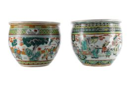 A MATCHED PAIR OF EARLY 20TH CENTURY CHINESE FAMILLE VERTE FISH BOWLS/PLANTERS