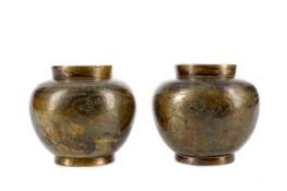 A PAIR OF EARLY 20TH CENTURY CHINESE BRONZE VASES