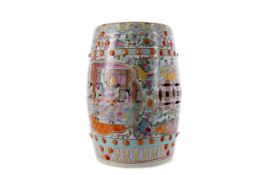 AN EARLY 20TH CENTURY CHINESE CERAMIC POLYCHROME BARREL SHAPED STOOL