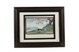 A 20TH CENTURY JAPANESE WATERCOLOUR BY MATSUMOTO